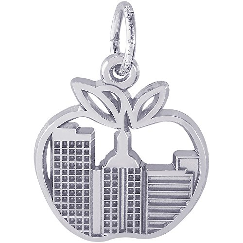 Sterling Silver Apple Charm (Rembrandt Sterling Silver New York Skyline Charm (15 x 14.5 mm))