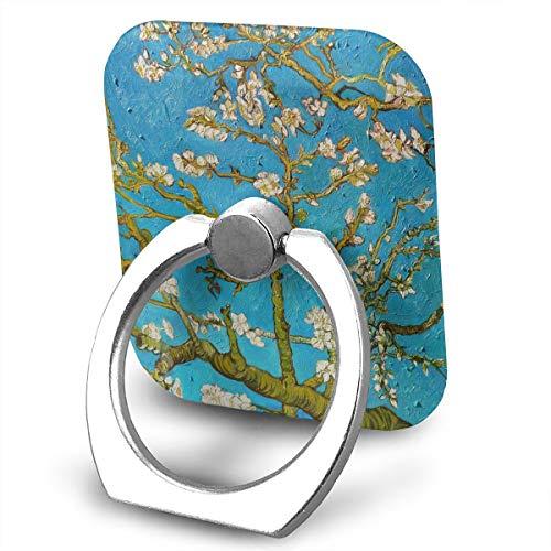 Square Cell Phone Finger Ring Holder,Almond Tree Art Blue Car Mount,Universal Smartphone Dock -