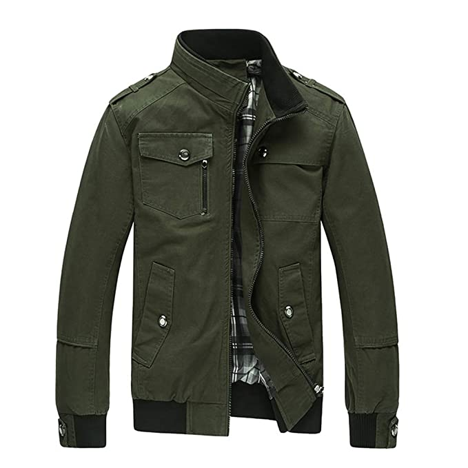 f72426fc12 Leoie Men Leisure Jacket for Men Zipper Casual Winter Men Coats Fashionable  Stand Collar Zipper Outerwear Jackets for Mens Causal Cotton Plus Size Men  ...