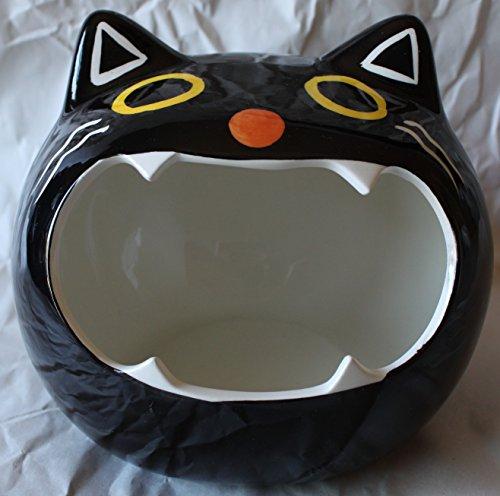 Magenta Halloween Black Cat Head Ceramic Candy Dish Bowl -