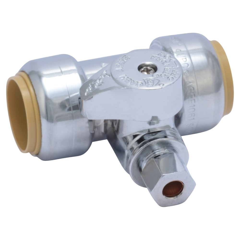 SharkBite 24985A Service Tee Stop Valve, 3/4 inch x 3/4 inch x 1/4 inch, Quarter Turn, Compression Service Stop Fitting, Water Valve Shut Off, Push-to-Connect, PEX, Copper, CPVC, PE-RT