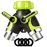VicTsing 2 Way Y Metal Body Hose Connector Splitter, Garden Hose Splitter with Smooth Rubberized Grip (4 Free Washers, Fluorescent Green)