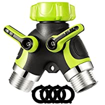 VicTsing 2 Way Y Hose Connector Splitter, Garden Hose Splitter Metal Body with Smooth Rubberized Grip (4 Free Washers, Fluorescent Green)