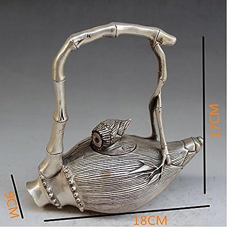 El cobre tetera de artesanía de niquelado de bronce antigua casa creatividad crisol decoración clásica brotes de bambú: Amazon.es: Hogar