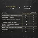 KOHIPRESS The Original Portable French Press Coffee Maker | Vacuum Insulated Travel Mug | Premium Stainless Steel | Hot and Cold Brew (12 oz) | Great for Commuter, Camping, Outdoors and Office