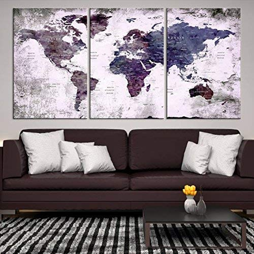 Amazon Com Watercolor World Map Wall Art By My Great Canvas 3