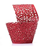 Tinksky 50pcs Cupcake Wrappers Bake Cake Paper Cups Baking Cup Muffin Case Trays for Wedding Party Birthday Decoration Baby Shower Wrap (Red)
