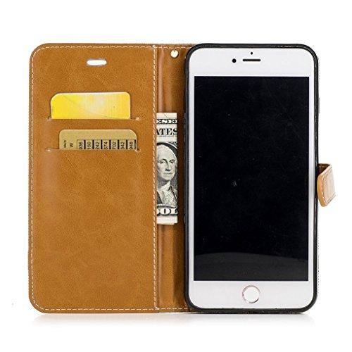 König-Shop Tasche für Apple iPhone 8 Plus Jeans Cover Handy Schutz Hülle Case Grau
