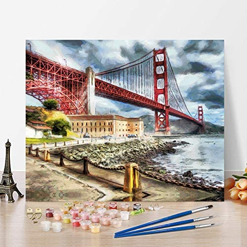 Canvas Oil Art Picture Seaside Bridge DIY Painting By Number Kit Painted Decor