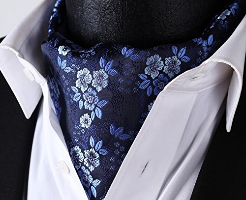 Blue Woven Set Floral HISDERN Navy Jacquard Men's Ascot 50w0qWngTt