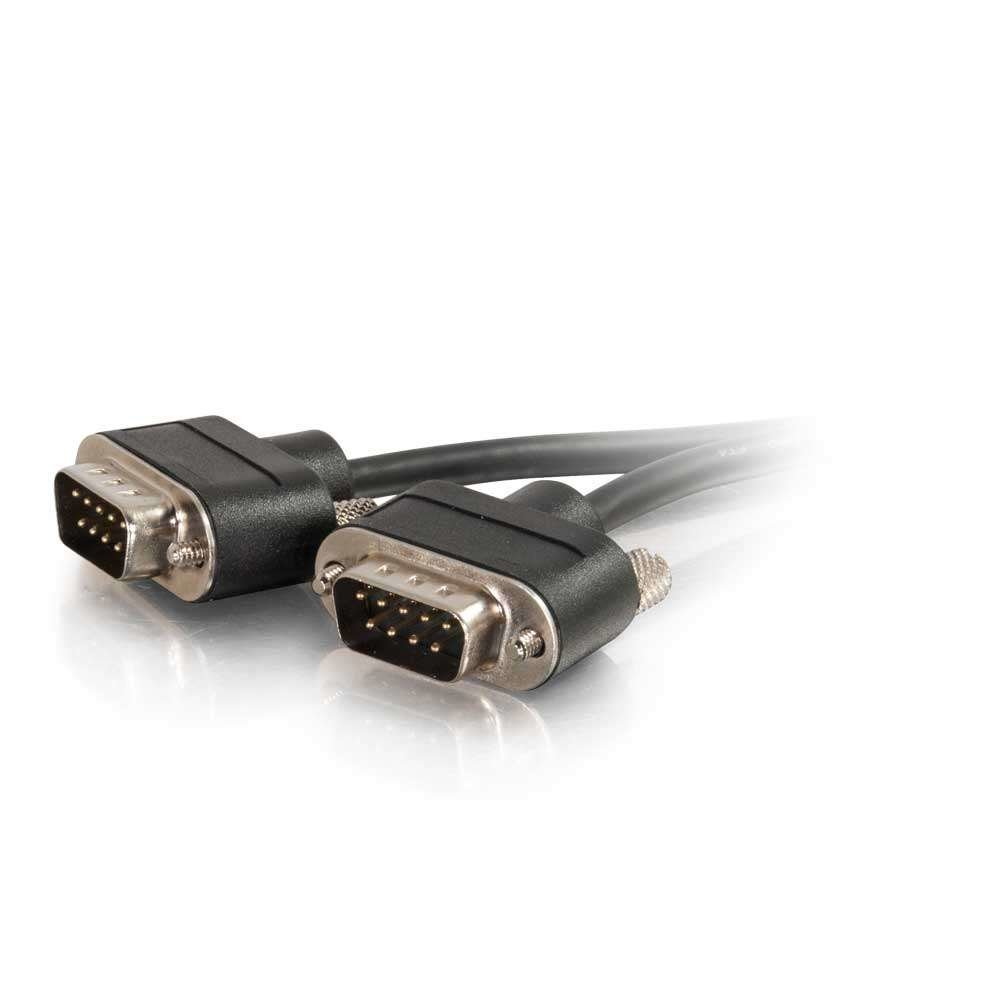 C2G 52171 Serial RS232 DB9 Null Modem Cable with Low Profile Connectors M/M, In-Wall CMG-Rated, Black (35 Feet, 10.66 Meters)