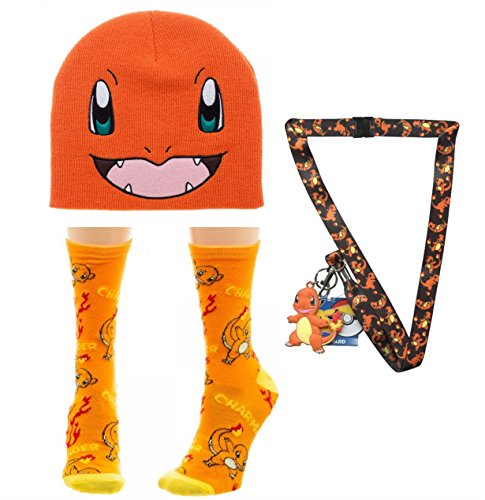 [Pokemon Charmander Skullie Beanie, Junior Charmander Socks & Charmander Lanyard] (Slowpoke Costume)