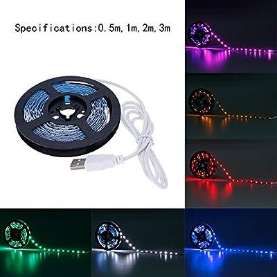 HuntGold 3M Flexible 3528SMD Bias Lighting, USB Powered 5V LED TV Backlighting Strip Light Lamp Home Theather Accent Lighting Room Shop PC/Laptop Background Lighting