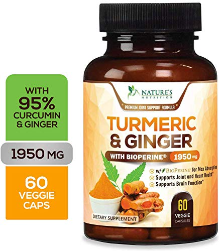 (Turmeric Curcumin 95% Highest Potency with Ginger 1950mg with Bioperine Black Pepper for Best Absorption, Made in USA, Best Vegan Joint Pain Relief, Turmeric Pills by Natures Nutrition - 60)