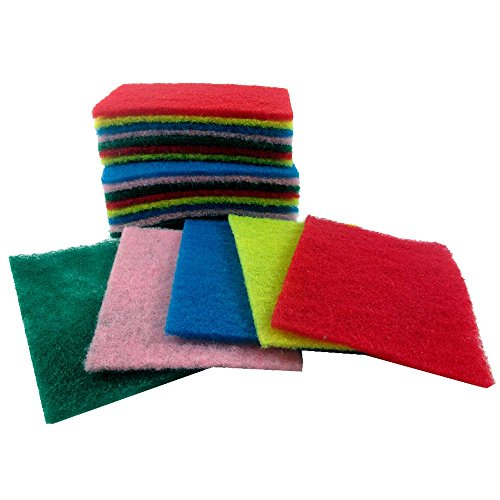 SODIAL 30 Sheet Scouring Pads Medium Duty Home Kitchen Scour Scrub Cleanning Pad ()