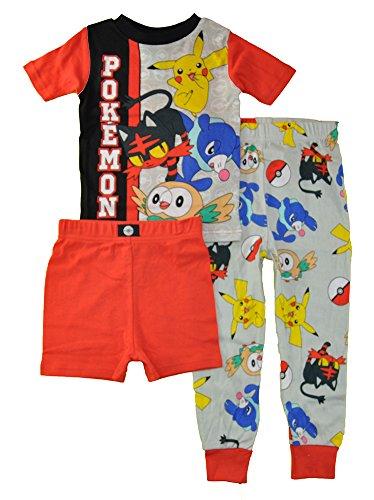 Pokemon Big Boys' 3-Piece Cotton Pajama Set, Battle-Ready Red, 4
