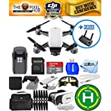 DJI Spark Quadcopter EXTREME ALL YOU NEED PROFESSIONAL BUNDLE With Landing Pad, Extra Props, 32GB Micro SD Card Plus Much More (Alpine White)