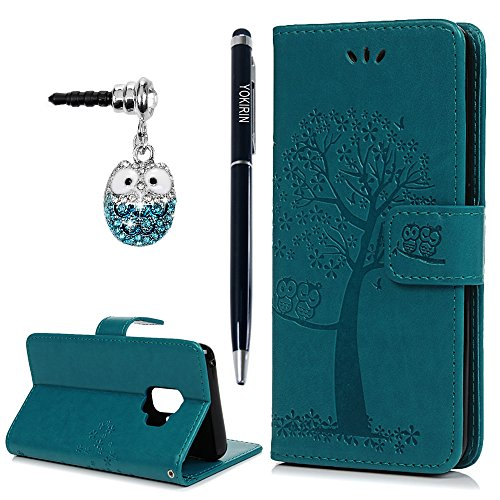 Galaxy S9 Case, YOKIRIN Flip Wallet Full PU Leather Kickstand Embossed Floral Owl Magnetic Tree Book Style Built-in Stand Card Slots Holder Protective Cover with Detachable Wrist Strap, (Custom Magnetic Buttons)
