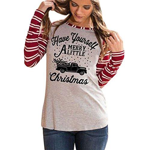 Christmas Shirt for Women, Deer Antler Lips Print Long Sleeve Sweatshirt Ladies Pullover ANJUNIE(Gray2,M)
