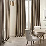 COFTY Premium 2-Layer Linen Cotton Curtain Drapes Heavyweight Grommet Top - Flax 50Wx84L Inch(1 Panel)-for Kitchen| Bedroom| Living Room| School
