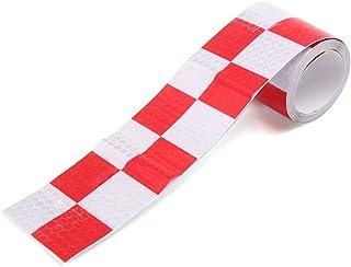sourcing map Rosso Bianco Auto Carrello Avvertenza sicurezza guida notte riflettente adesivo
