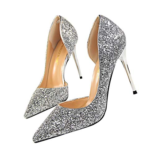 Women Pumps Closed Pointed Toe Open Side Cutout Sequin Stiletto Office Lady Wedding Party Dress Heeded Shoes by Lowprofile Silver