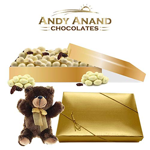 Chocolate & Greek Yogurt Nut Medley 2 Pound with Plush Teddy Bear crafted with creamy milk and rich dark chocolate luxuriously layered over Nuts and Fruits
