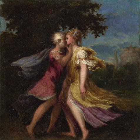 High Quality Polyster Canvas ,the Replica Art DecorativePrints On Canvas Of Oil Painting 'Andrea Schiavone - Jupiter Seducing Callisto,about 1550', 24x24 Inch / 61x61 Cm Is Best For Basement Artwork And Home Gallery Art And Gifts