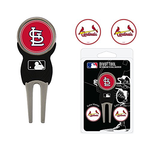 Team Golf MLB St Louis Cardinals Divot Tool with 3 Golf Ball Markers Pack, Markers are Removable Magnetic Double-Sided Enamel - Louis Cardinals Mlb Golf