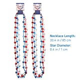 BESTOMZ Patriotic Star Beads Necklaces 4th of July , Pack of 12