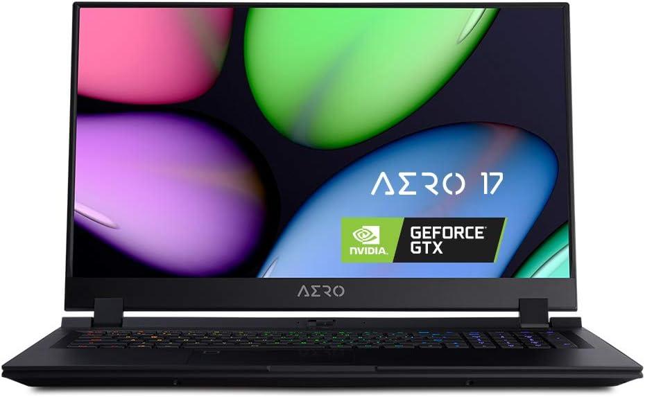 "[2020] Gigabyte AERO 17 SB-7US1130SH Thin and Light Laptop, 17.3"" Thin Bezel 144Hz FHD Anti-Glare Display, i7-10875H, NVIDIA GeForce GTX1660Ti, 16GB RAM, M.2 PCIe 512GB SSD, Win 10 Home"