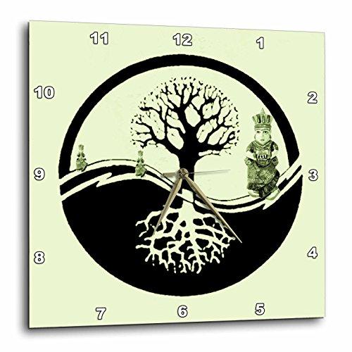 (3dRose DPP_7130_1 Wall Clock, Ying Yang Tree Pastel Green, 10 by 10-Inch)