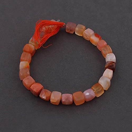 JP_Beads 1 Strand Natural Carnelian Faceted Cube Beads Briolettes - Carnelian Box Shape Beads 7mm-8mm 8 ()