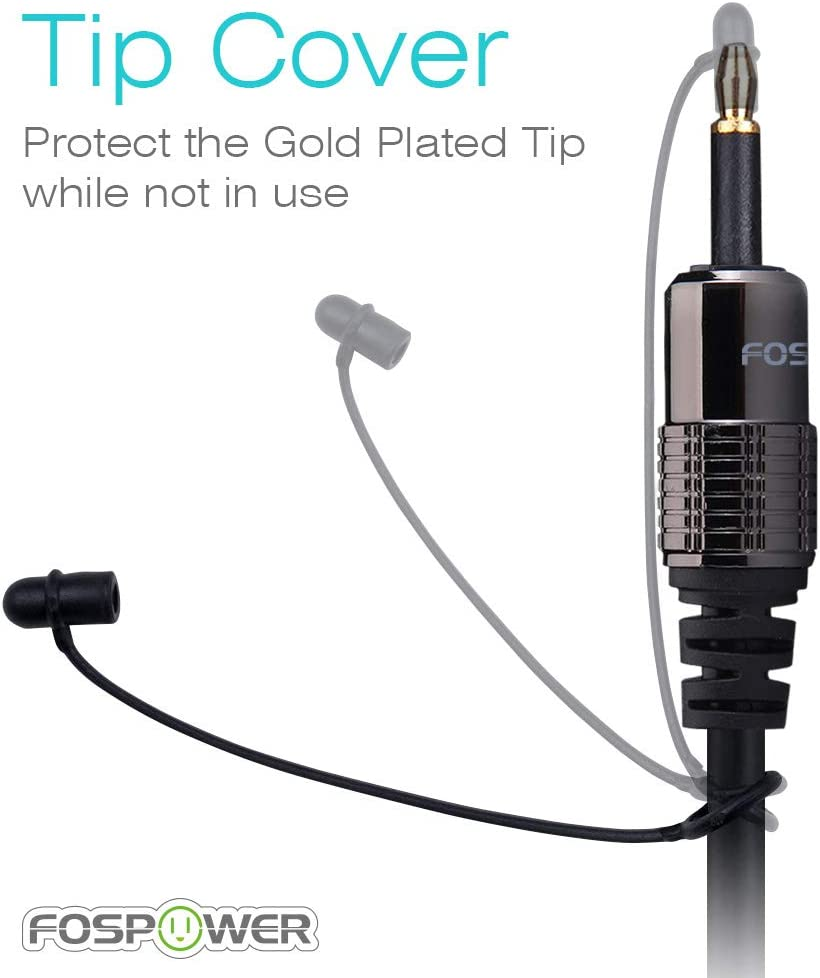 FosPower 24K Gold Plated Toslink to Mini Toslink Digital Optical S//PDIF Audio Cable with Metal Connectors /& Strain-Relief PVC Jacket 3 Feet