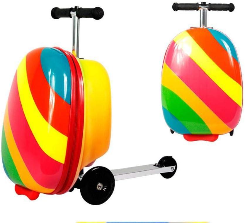 キャビン旅行のかわいい子供の小さいスクーターのスーツケース車輪の上の圧延の荷物子供のギフト用の箱子供は怠Tなトロリー袋、虹を運びます