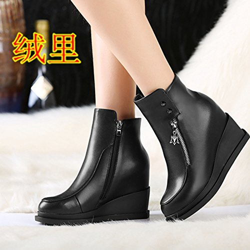 GTVERNH-New Autumn Female Boots Real Leather High Slope And Short Boots Round Head And Short Tube Martin Boots Black TASj4K9qt