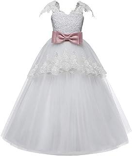 Jimmackey Ragazza Bowknot Vestito, Pizzo Volant Abito Tulle Partito Lungo Tutu Principessa Formale Dress
