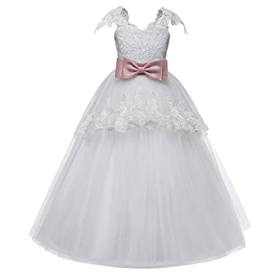 e8f4bc9528cf10 Kariwell Little Girls Lace Bridesmaid Dress, Bowknot Princess Long A Line  Wedding Pageant Dresses,