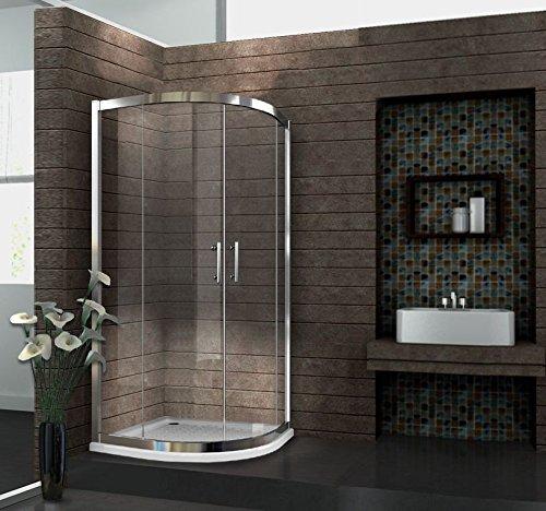 6 mm Duschkabine Duschabtrennung Eck-Dusche Viertelkreis 80 x 80 x 195 cm FRESH ohne Duschtasse