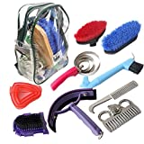 IRQ Equine Care Grooming Kit Tools Grips 10-Piece Horse Brush Set Bag Backpack