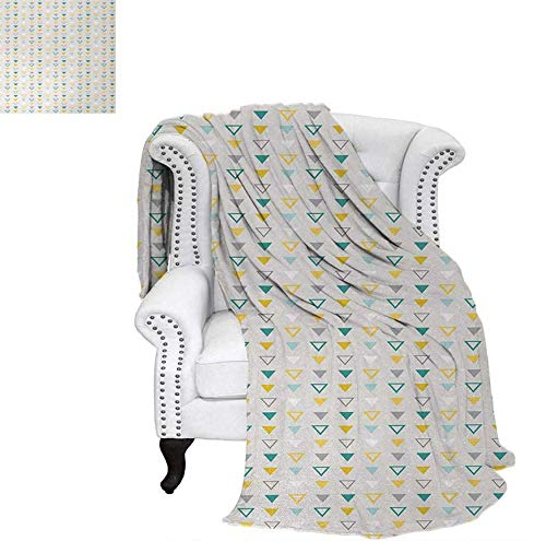 Print Artwork Image Grunge Geometrical Shapes with Vintage Inspirations Traditional Pattern Classic Warm Microfiber All Season Blanket 62