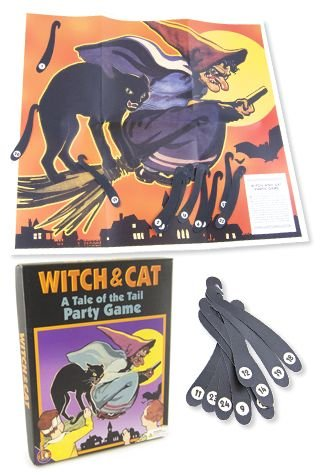 Witch and Cat Party Game (Halloween Pin The Tail)