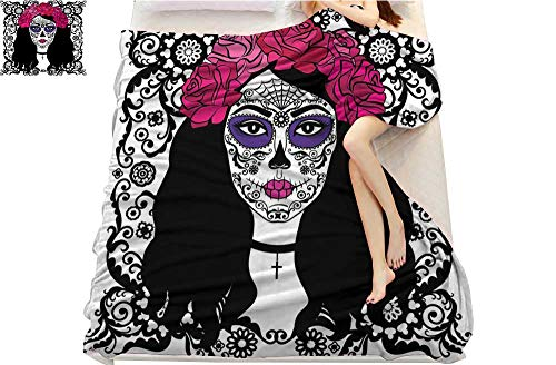 (Strongger Sugar Skull Decor, Blankets Queen Size, Girl with Sugar Skull Make Up Dia De Los Muertos Traditional Art, Lightweight Blanket Extra Big, (W90 x L90 Inch Black White)