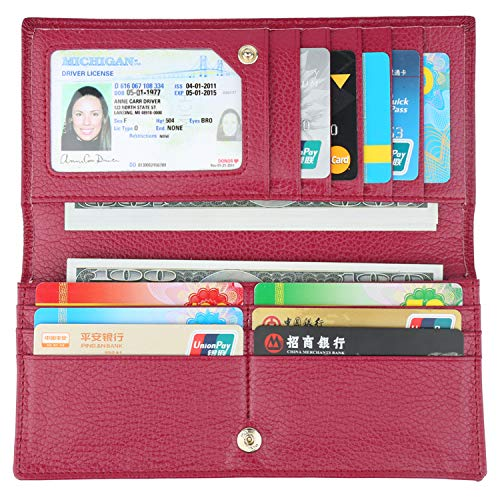 Credit Card Billfold - Lavemi RFID Blocking Ultra Slim Real Leather Credit Card Holder Clutch Wallets for Women(Wine Red)