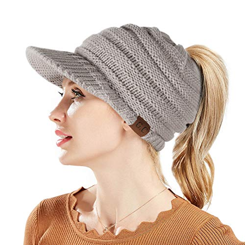 - BeanieTail Warm Knit Messy High Bun Ponytail Visor Beanie Cap (Light Gray)
