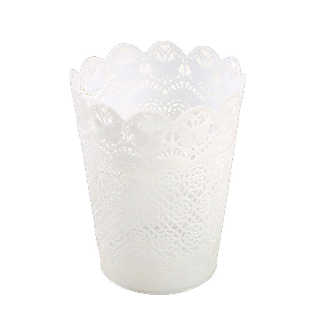 Topdo 2 Colors Hollow Pattern Plastic Trash Can Garbage Bin Can Rubbish Bin Wastebasket Without Lid-White