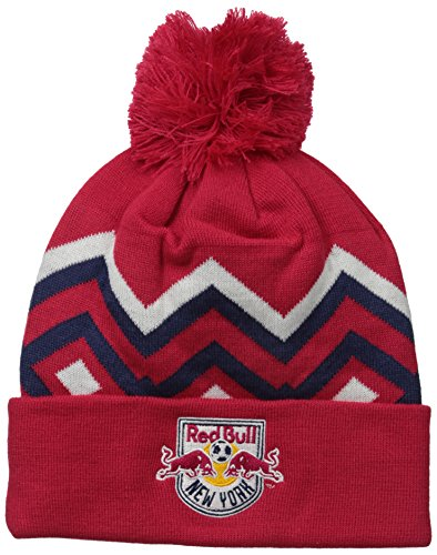 fan products of MLS New York Red Bulls Men's Cuffed Knit with Pom, One Size, Red