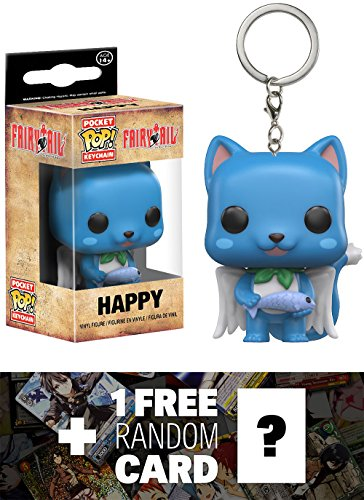 Happy: Pocket POP! x Fairy Tail Mini-Figural Keychain + 1 FREE Anime Themed Trading Card Bundle (117289)
