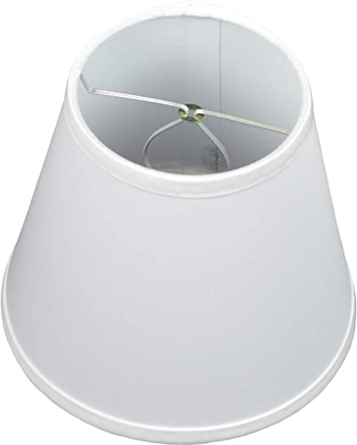 FenchelShades.com 5 Top by 8 Bottom by 7 Slant Height Fabric Barrel Lampshade Clip-On Attachment Designer Chintz White