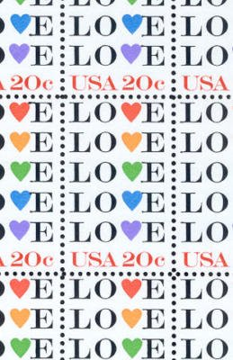 USPS Love Full Sheet of 50 x 20 Cent Stamps Scott 2072 ()